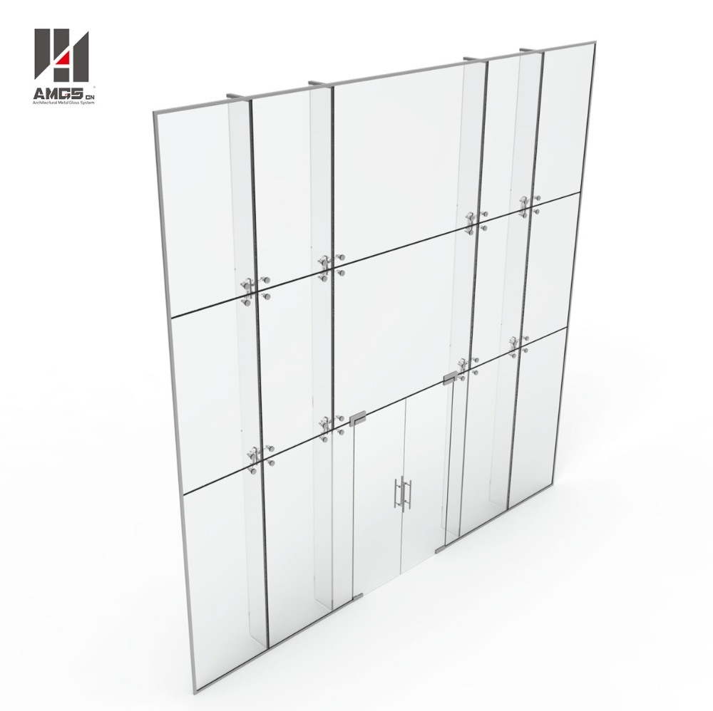 Exterior Facade Low Cost Per Square Metre Glass Curtain Wall Spider System