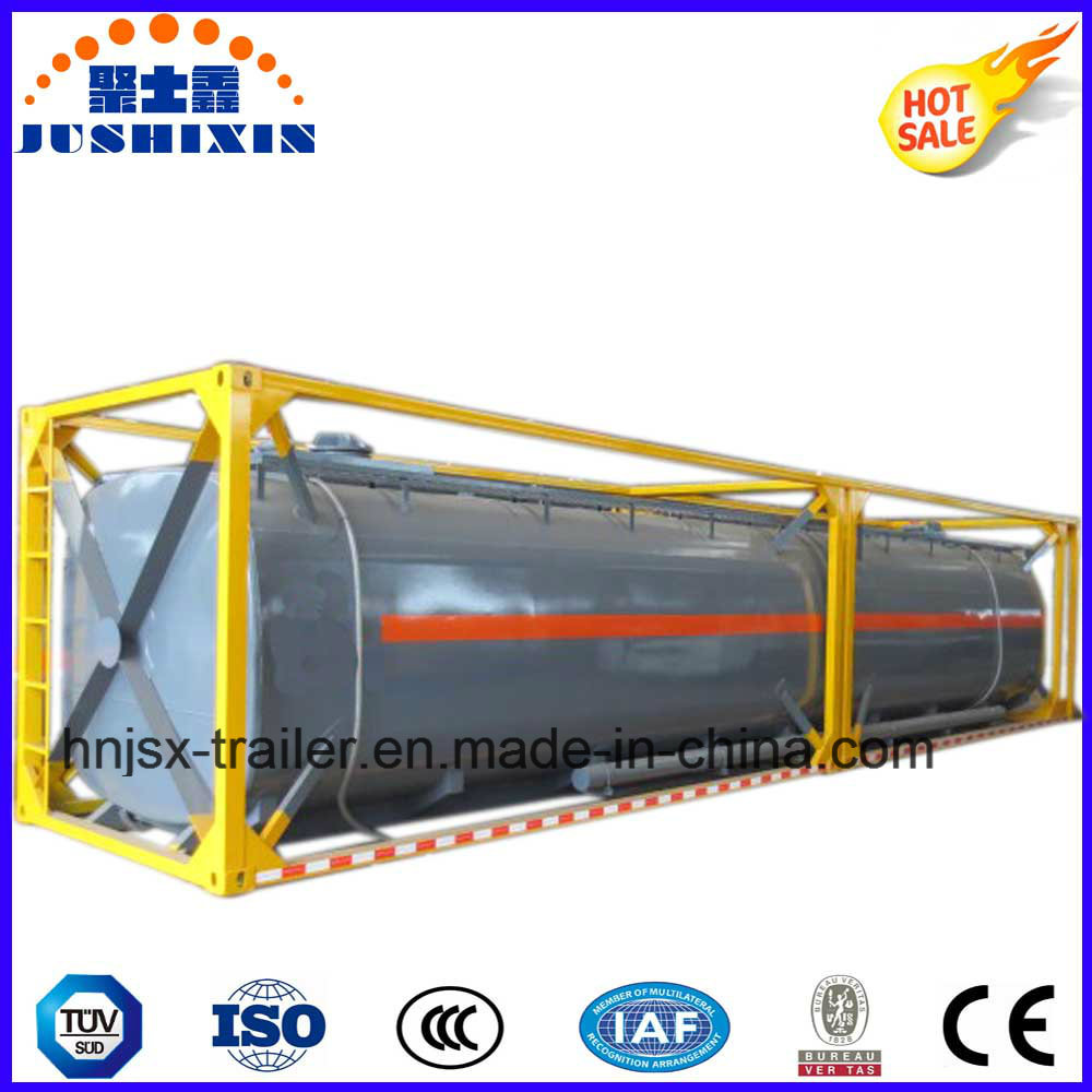 40FT Chemical Liquid Semi Trailer Tank Container with Frame