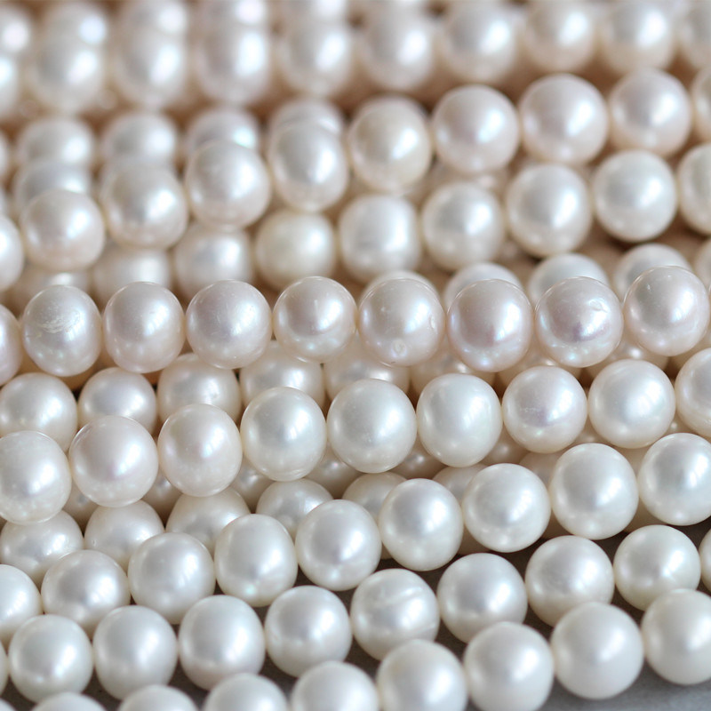 9-10mm Round Fresh Water Pearl Necklace Material Wholesale (E180015)