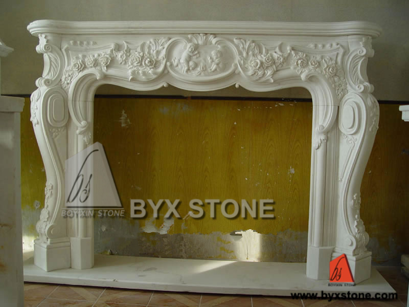 White Marble Stone Fireplace Mantel with Flower Carving
