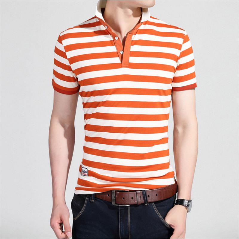 Slim Short Sleeve Cotton Stripe Casual Polo Tee