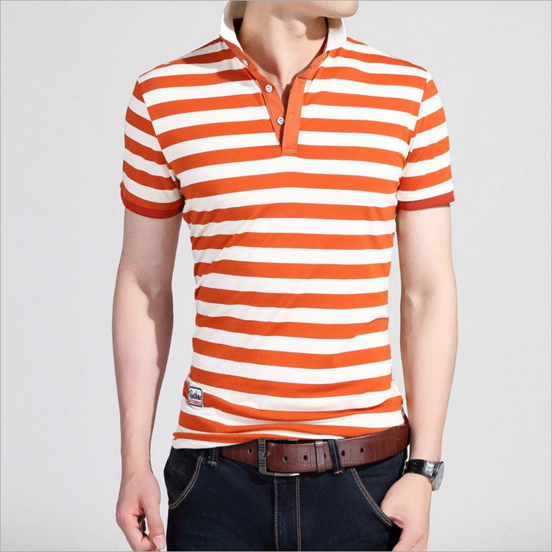 Slim Short Sleeve Cotton Stripe Casual Polo Tee