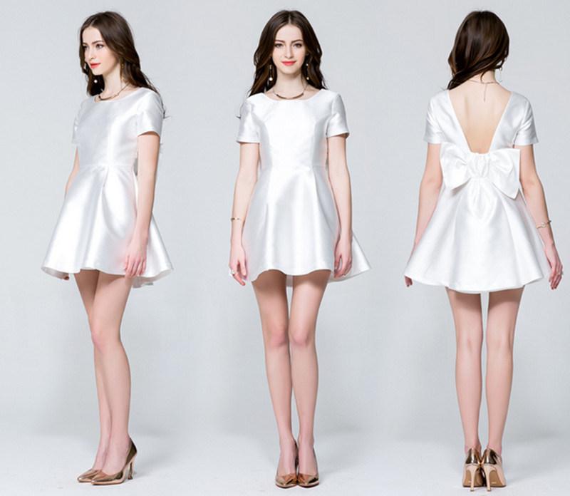 New Style Tube Short Sleeves Round Neck A-Line Princess Slim High-Waist Dress