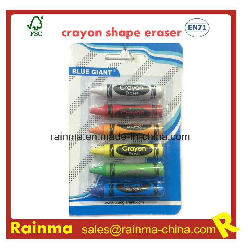 Crayon Shape Eraser for Stationery Supply