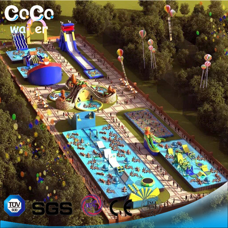 Coco Water Design Sealed Inflatable Water Park Combination with Stand Pool