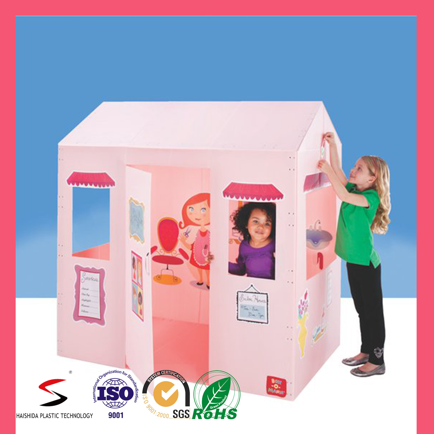 Custom Printed Plastic Corrugated DIY Drawing Playhouse for Children