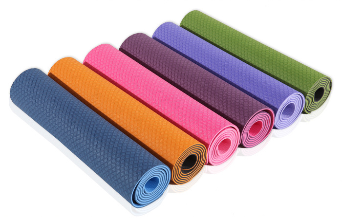 Blank TPE Two Side Colors TPE Yoga Pilates Mat / Gym Fitness Equipment
