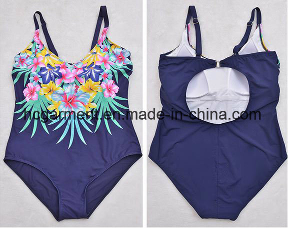 Large Size Swimsuit for Women, Plus-Size One-Piece Printed Swimming Wear