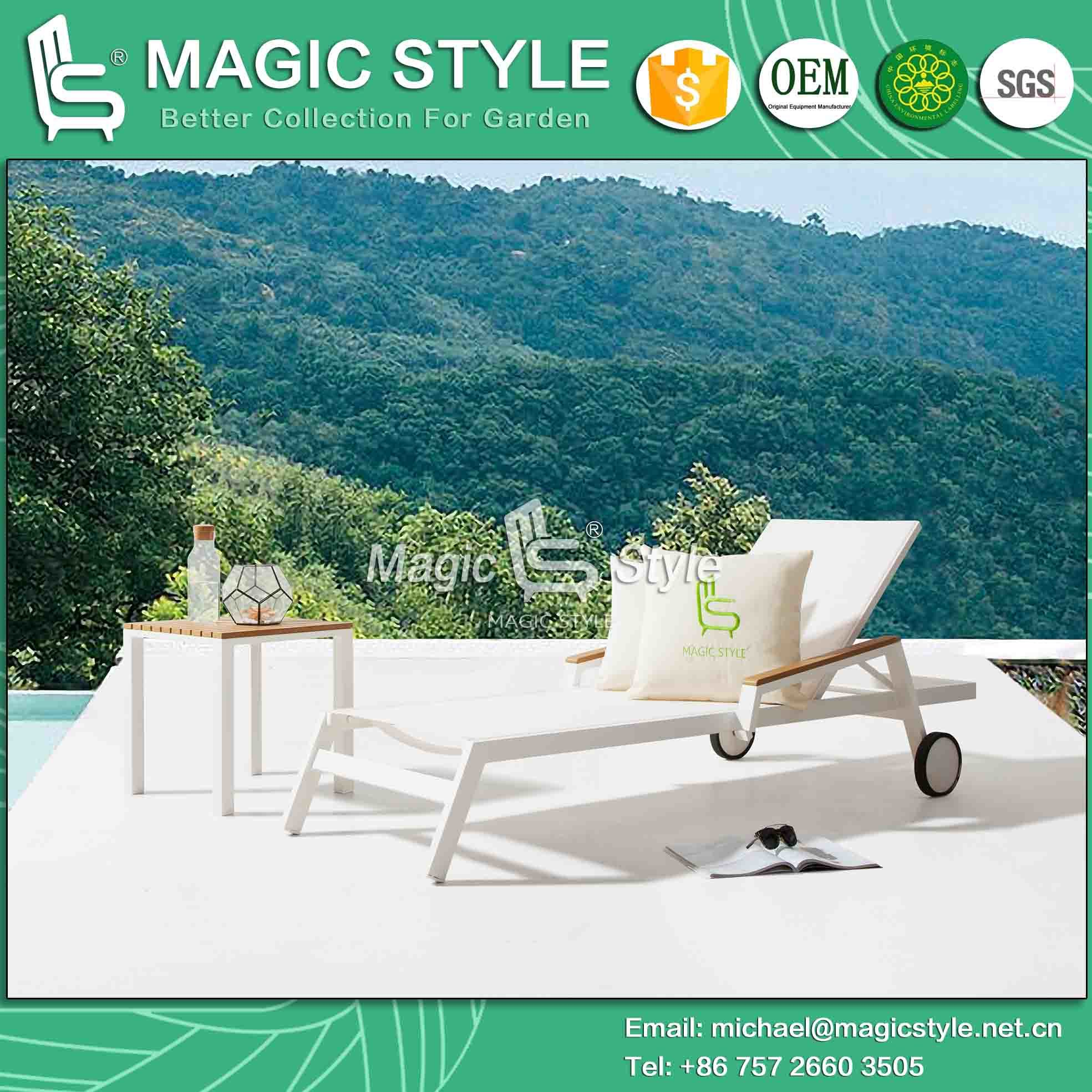 Outdoor Textile Sunlounger with Plastic Slat Garden Sling Lounger with Arm Prmotion Sunlounger Garden Sling Sun Bed Poly Wood Arm Daybed