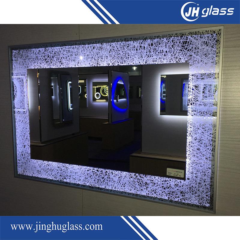 Bathroom Silk Screen LED Lighted Mirror with Aluminium Frame