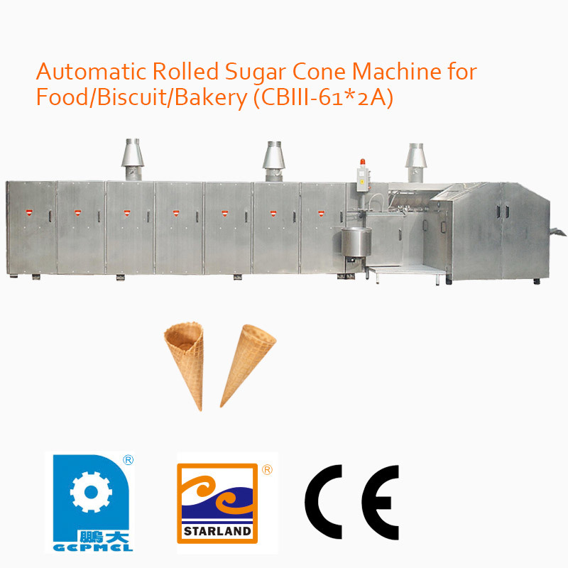 Automatic Rolled Sugar Cone Machine for Food/Biscuit/Bakery (CBIII-61*2A)