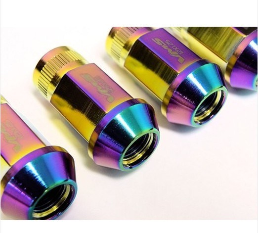 20 PC 12X1.25mm Thread Neo Chrome Titanium Forged Steel Racing Extended Lug Nuts