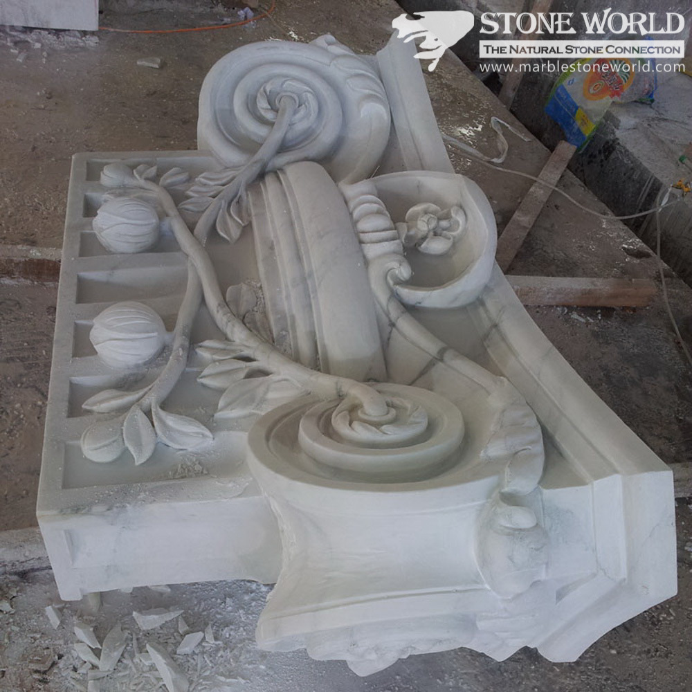 Carrara White Carving Capital for Columns (CV017)