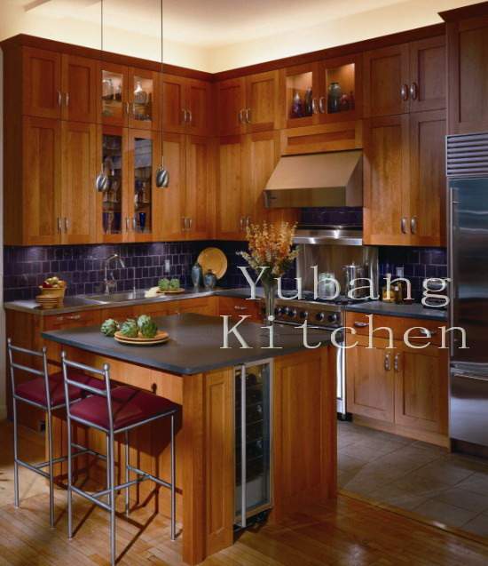 New Design Solid Wood Kitchen Cabinet Classic Kitchen Furniture #240