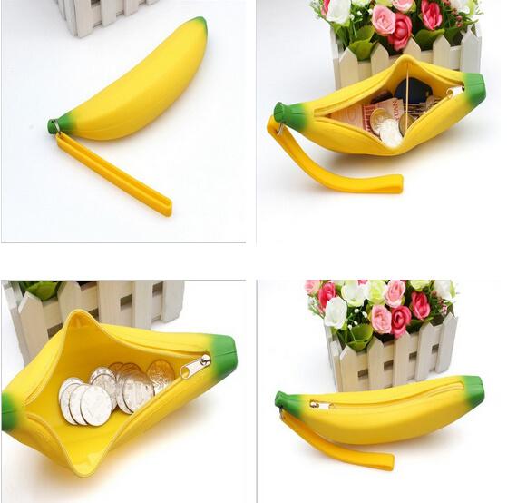 Funny Cute Banana Shape Silicone Coin Purses Wholesale