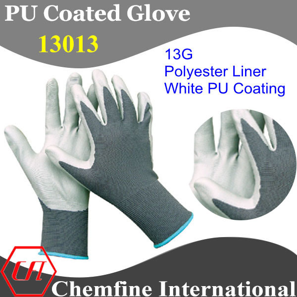 13G Dark Green Polyester Knitted Glove with White PU Smooth Coating