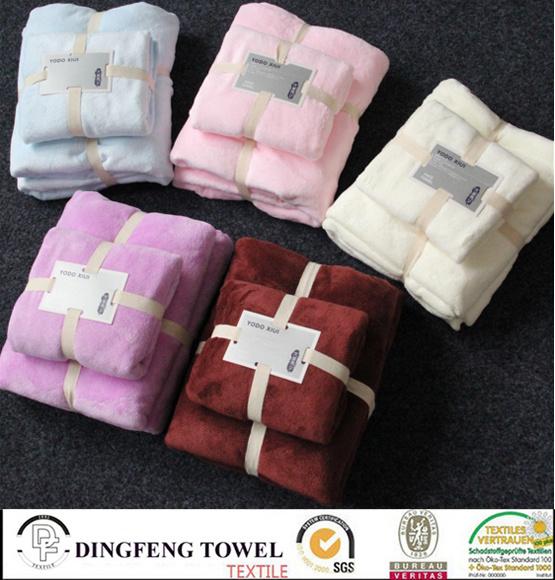 2016 Hot Sales 100% Cotton Velour Super Soft Baby Bath Towel Set Df-S286