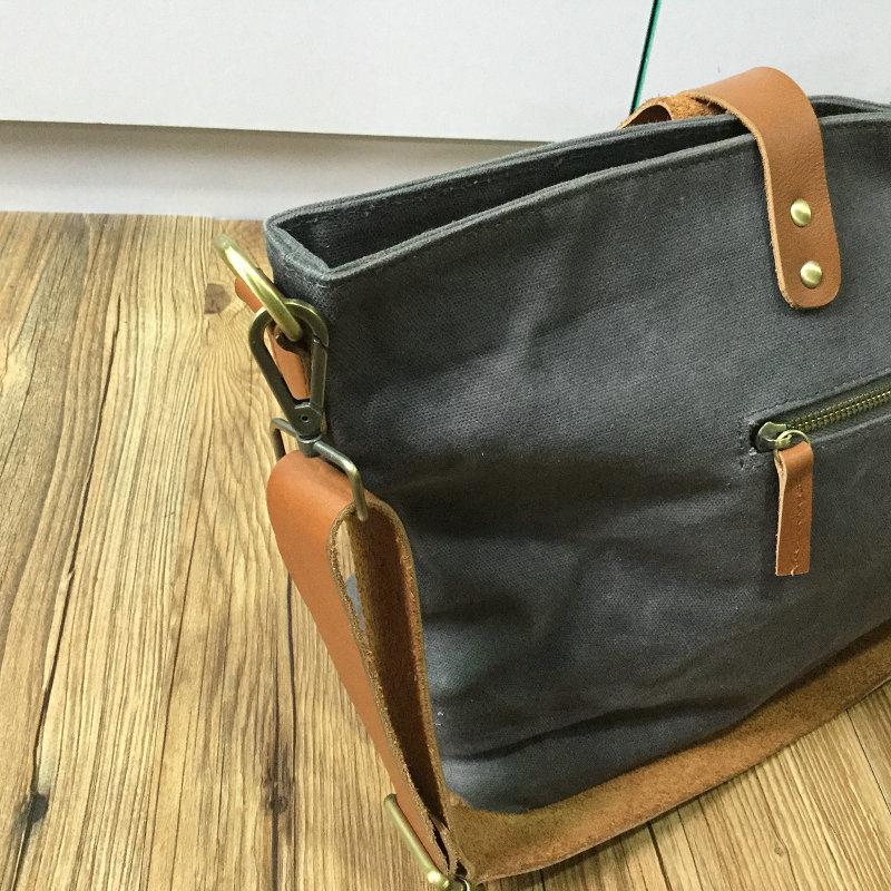 Personalized Vintage Ladies Waxed Canvas Handbag Shoulder Bag