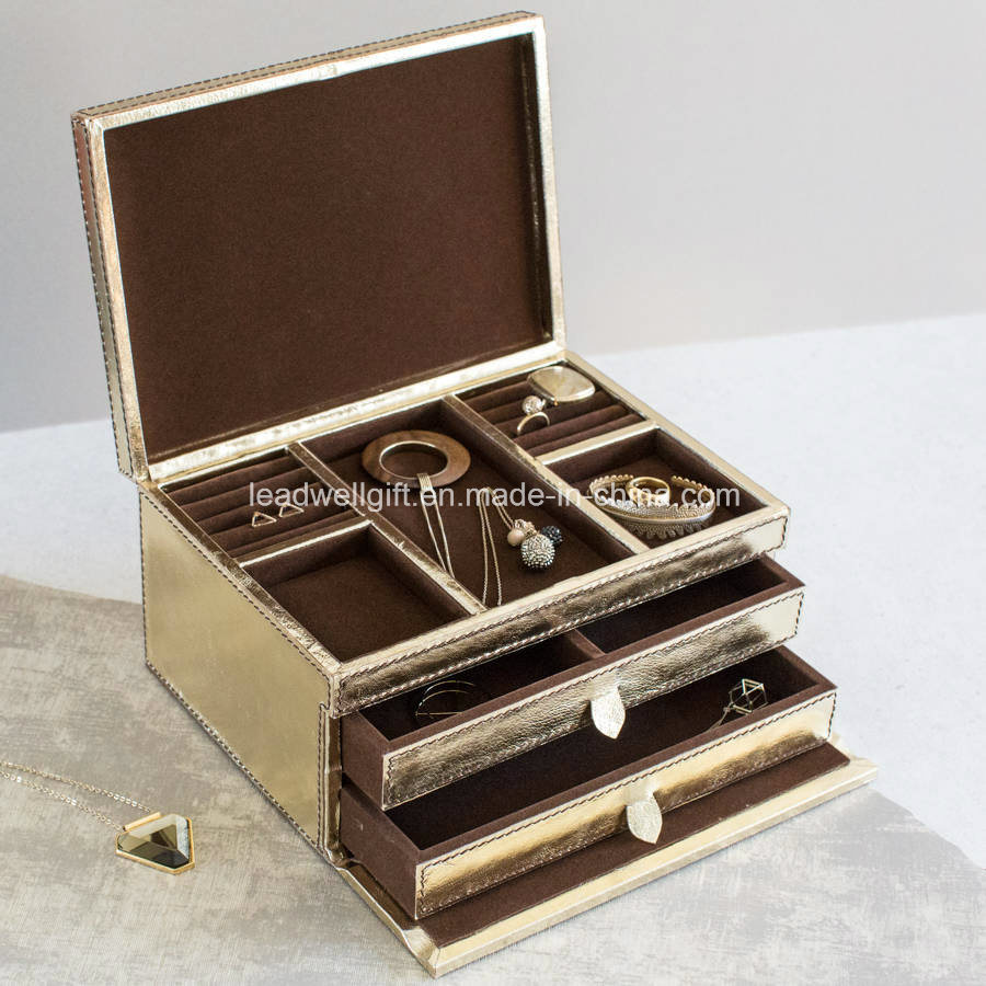 Tan / Gold Leather Jewelry Box