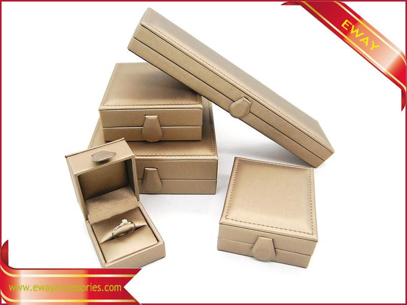 Fashion Gold Leather Jewelry Box PU Jewelry Set Box