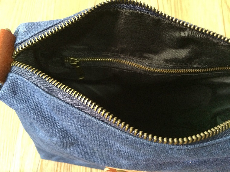 Custom High Quality Washed Canvas Zippered Pouch