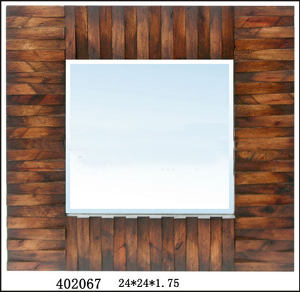 Wooden Framed Rectangle Wall Mirror Suppliers (LH-402067)