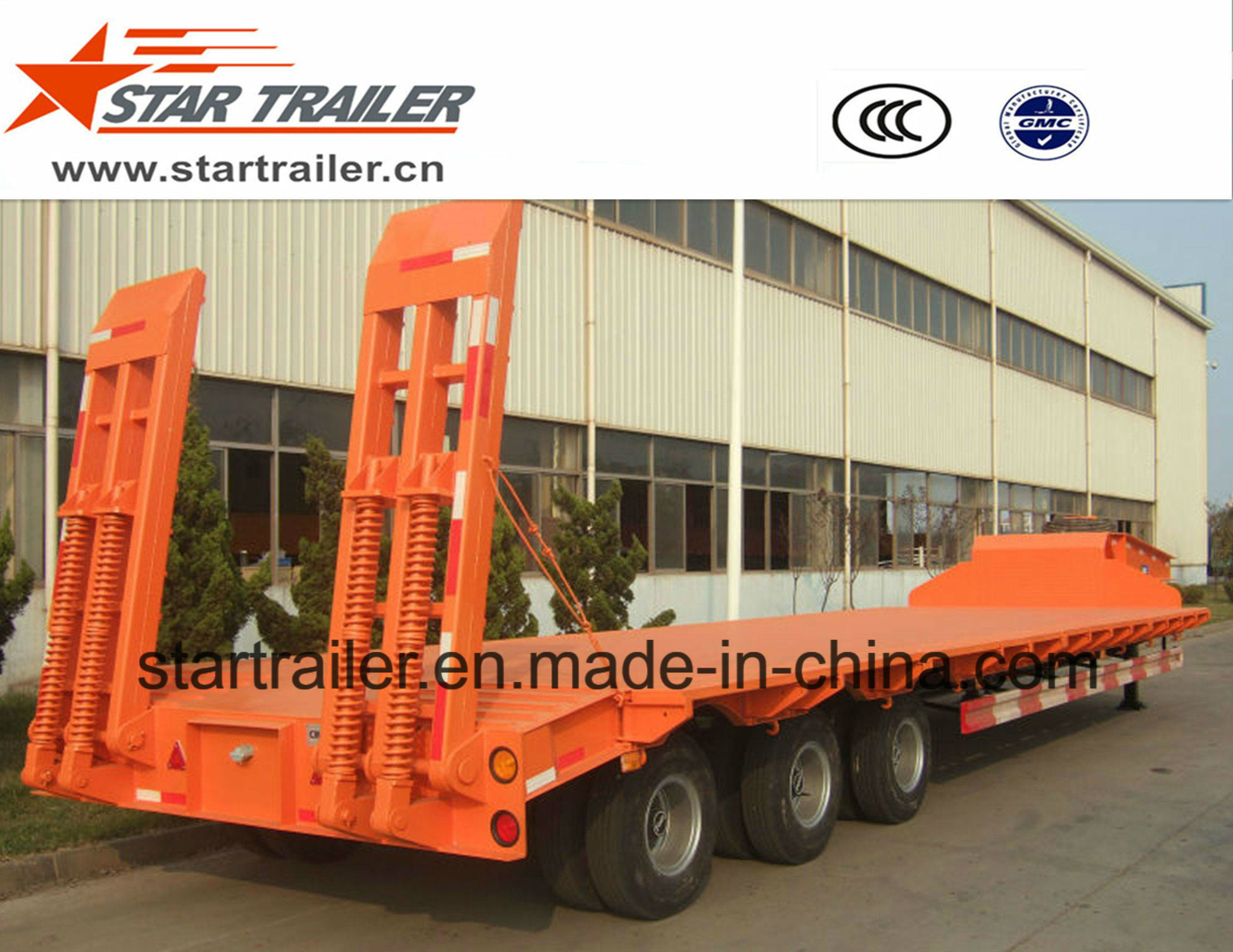 3 Axles Heavy Equipment Transport Low Bed Trailer