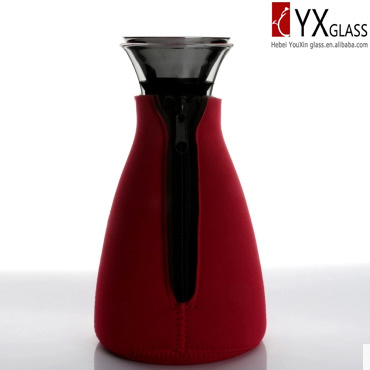 1000ml High-Borosilicate Glass Carafe with Fabric Sleeve/Glass Cool Water Kettle /Glass Iced Tea Maker