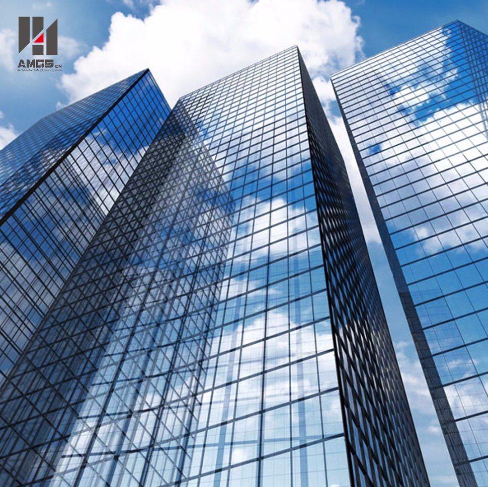 Double Low-E Exterior Building Glass Walls Panels Hidden Frame Glass Curtain Wall