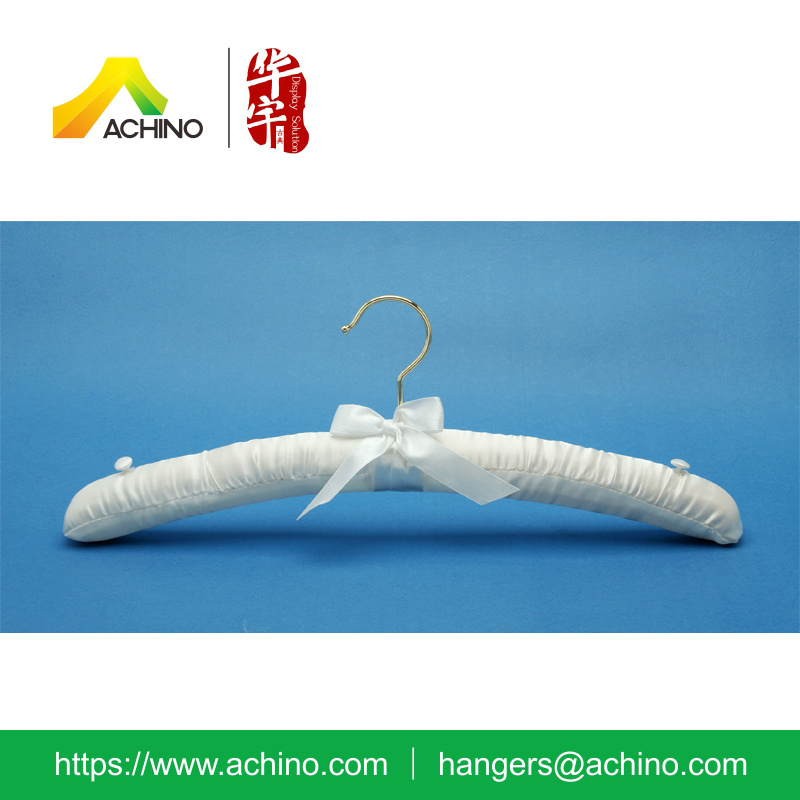 Satin Padded Clothes Hanger with Buttons (APH103)