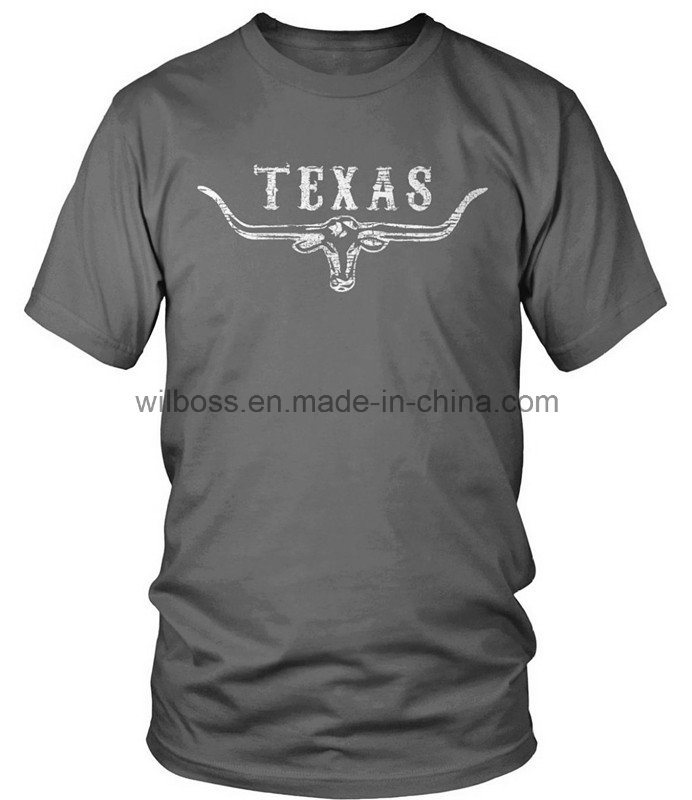 Custom Quality Cotton Screen Printing Man′s T-Shirt of Round Neck