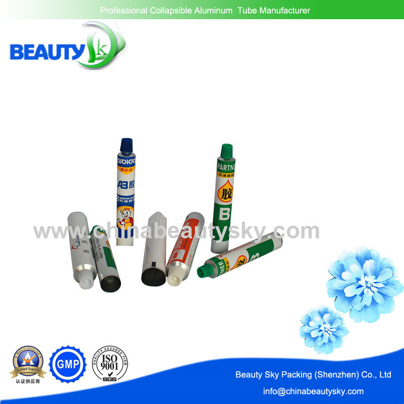 Long Nozzle Printed 6c Glues adhesive Packaging Aluminum Collapsible Tube