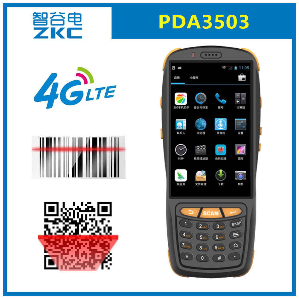 Zkc PDA3503 Qualcomm Quad Core 4G Android 5.1 Handheld Data Collector with Barcode Scanner NFC RFID
