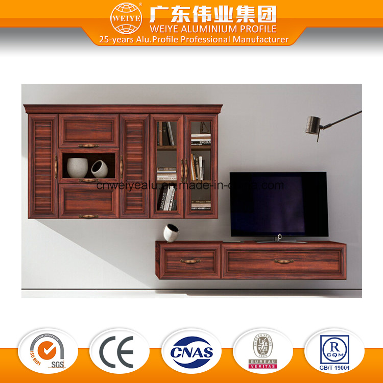 Durable Aluminium TV Cabinet Combination Living Room Cabinet Wood Grain Transfer Surface