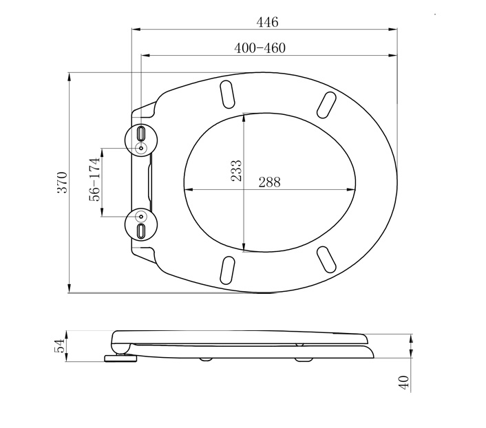 Top Fix Toilet Seat with Slow Close Toilet Seat Hinges