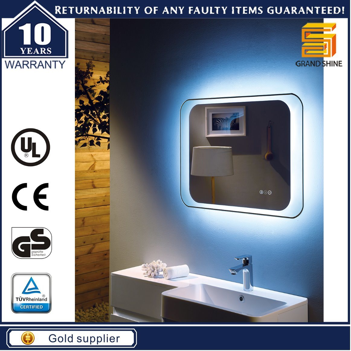 Decorative Ce Certificate LED Copper Free Bathroom Illuminated Mirror