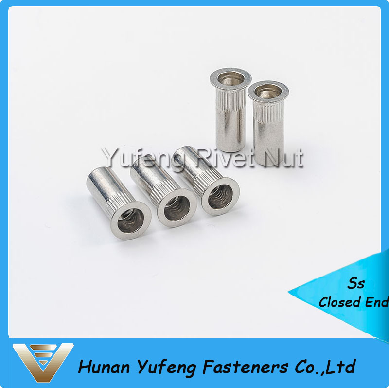 Stainless Steel Flat Head Knurled Body Closed End Rivet Nut