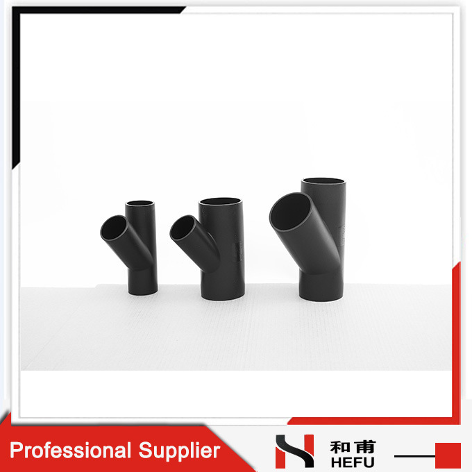 Black HDPE Material Plastic Pipe Fittings Drainage Y Branch Tee