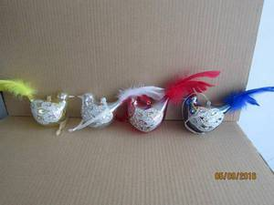 Christmas Ornament Glass Bird with Feather