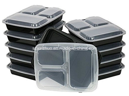 Black Large Capacity 3 Compartment Microwave Safe Plastic Food Container