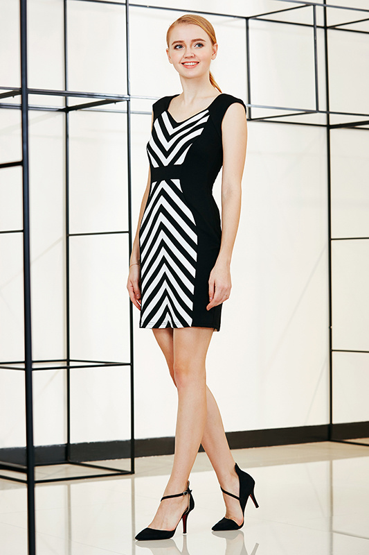 High Waist Bodycon Drop Shoulder Dress with Diagonal Symmetrical Stripe at Front and Back