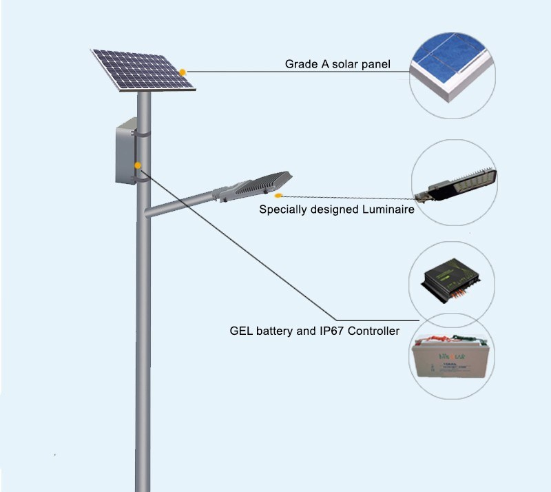 Hot Sale 6 Pole 30W Integrated LED Solar Street Light with Factory Direct