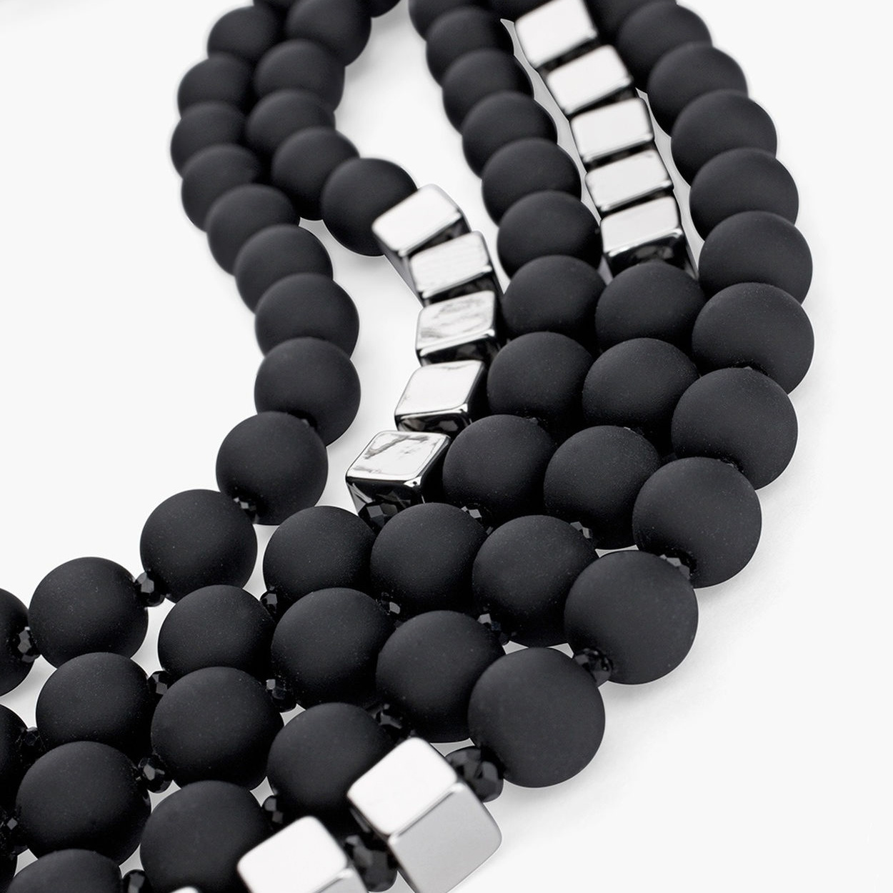 Hot Fashion Women Black Beads Necklace Multilayer Rope Statement Jewelry Long Necklace for Women