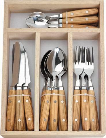 16 PCS Flatware Set With Wood Box - China Cutlery,