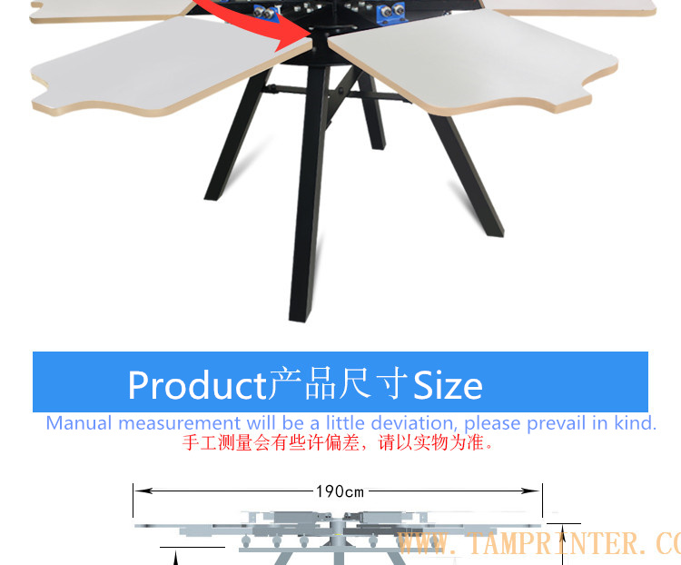 TM-R6a 6 Color Manual Carousel T-Shirt Textile Screen Printing Machine