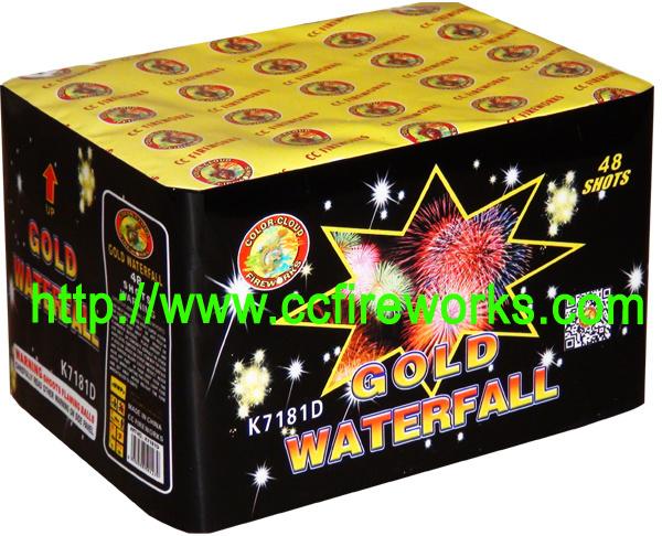 48s Gold Waterfall Fireworks Cake (K7181D)