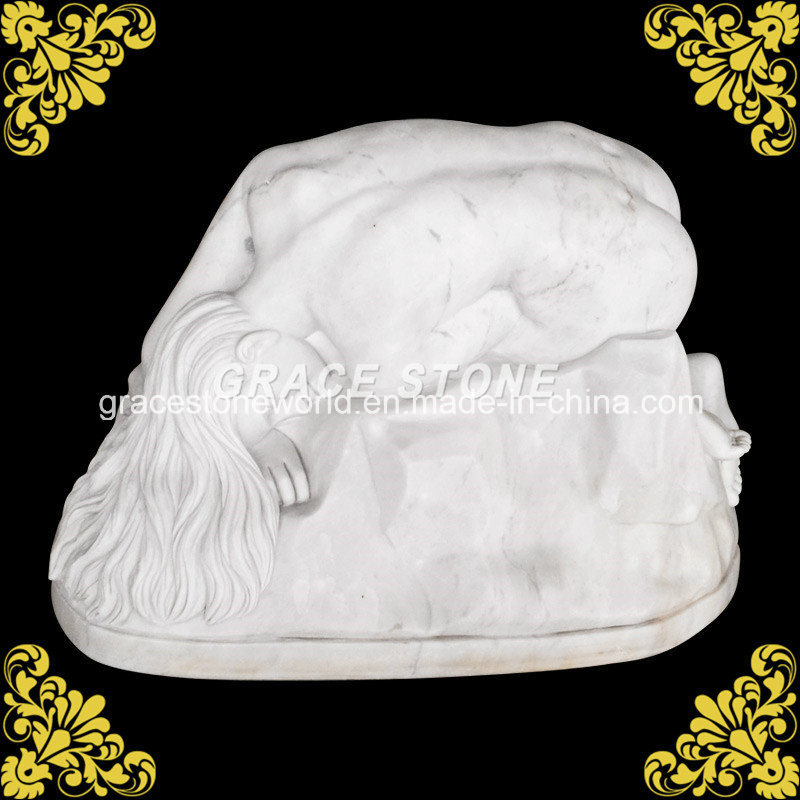 Natural Marble Kneeling Woman Sculpture