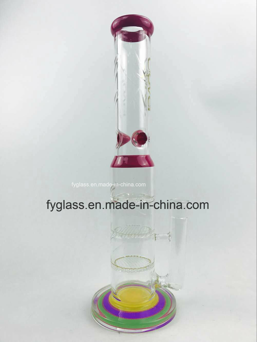 New Profile Glass Smoking Water Pipe with Color Beaker