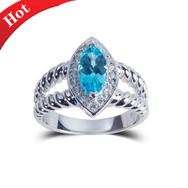 2015 Fashion Natural Stone Silver Jewelry Rings