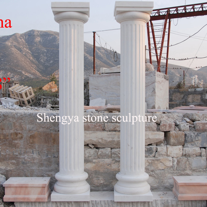 White Carrara Marble Stone Sculpture Column (SY-C006)